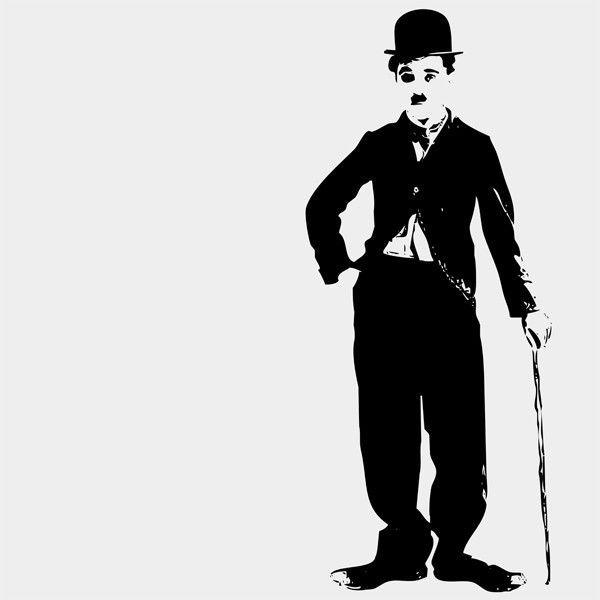 Toile Pop Art en Noir et Blanc - Charlie Chaplin