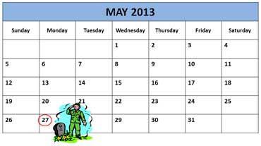 memorial day calendar 2008