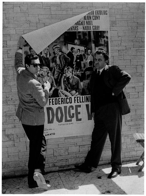 When your are working on a budget, the major star and the director must put up all the posters BY THEMSELVES! - Marcello Mastroianni (left) & Federico Fellini (right)