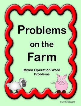 Word problem task cards with farm theme plus open-ended Math project (build a perimeter farm) $