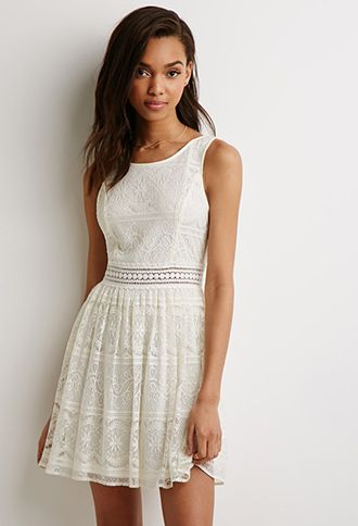 Lace Fit & Flare Dress | Forever 21 - 2000134970 white or pink? Thoughts anyone?
