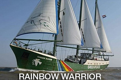 "The sinking of the Rainbow Warrior, codenamed Opération Satanique, was an operation by the ""action"" branch of the French foreign intelligence services, the Direction Générale de la Sécurité Extérieure (DGSE), carried out on July 10, 1985. It aimed to sink the flagship of the Greenpeace fleet, the Rainbow Warrior in the port of Auckland, New Zealand, to prevent her from interfering in a nuclear test in Moruroa. From  - http://en.wikipedia.org/wiki/Sinking_of_the_Rainbow_Warrior"