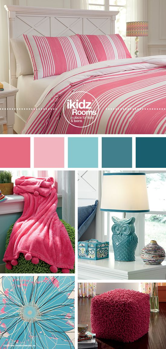 Taries Pink Full Duvet Cover Set - iKidz Rooms® - Kids, Teen and Youth Bedroom Furniture and Accessories - Pink and Blue Teal Bedroom Color Ideas - Ashley Furniture - #AshleyFurniture @AshleyFurnDecor