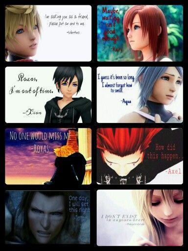 Sad Kingdom Hearts quotes.. Ventus, Kairi, Xion, Aqua, Roxas, Axel, Terra and Naminé. They've all had their share of drama