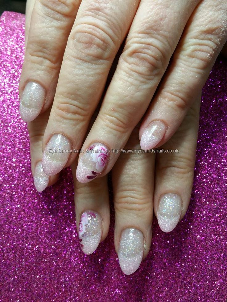 Brillbird pink shimmer acrylic tips with you should be dancing glitter acrylic and one stroke flower nail art
