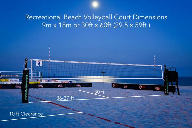 The recommended beach volleyball court dimensions for FIVB, NCAA or USA Volleyball competition and recreation beach volleyball.