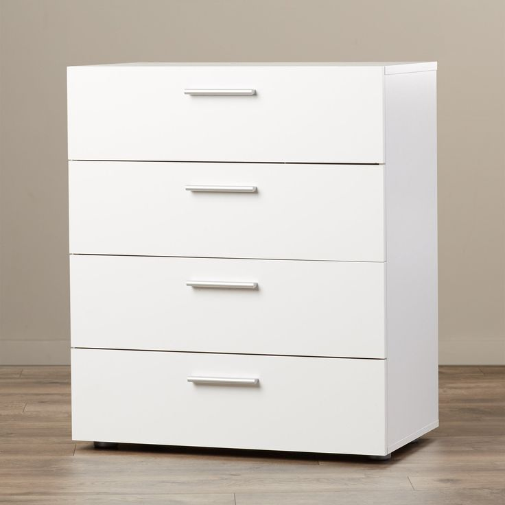 Contemporary Four Drawer Dresser - Chest for Your Kids Room Home Office Living Room Bedroom Wardrobe Storage Organizer Furniture