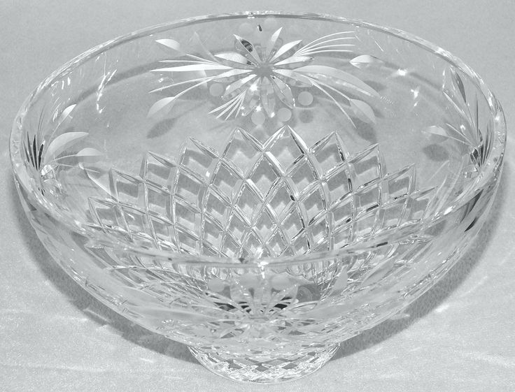 #Large #Vintage #Crystal Cut #Glass and #Engraved #Bowl c.1970's £35 #followvintage