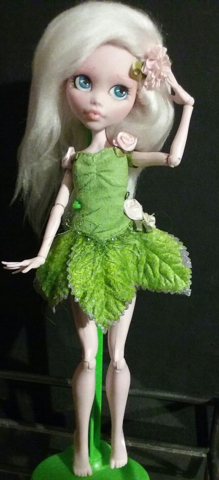 OOAK Monster High Pixie Draculaura  Collector Doll Repaint by American artist J.S.A.L. She comes barefoot wearing outfit shown.  Hair is removable hand made wig.  Random doll stand included. | eBay!