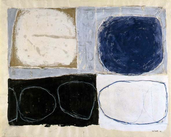 William Scott, Blue Circle, 1960, Gouache on paper, 56 x 70 cm / 22 x 27 in, Modern Art Center of Calouste Gulbenkian Foundation Collection, Lisbon