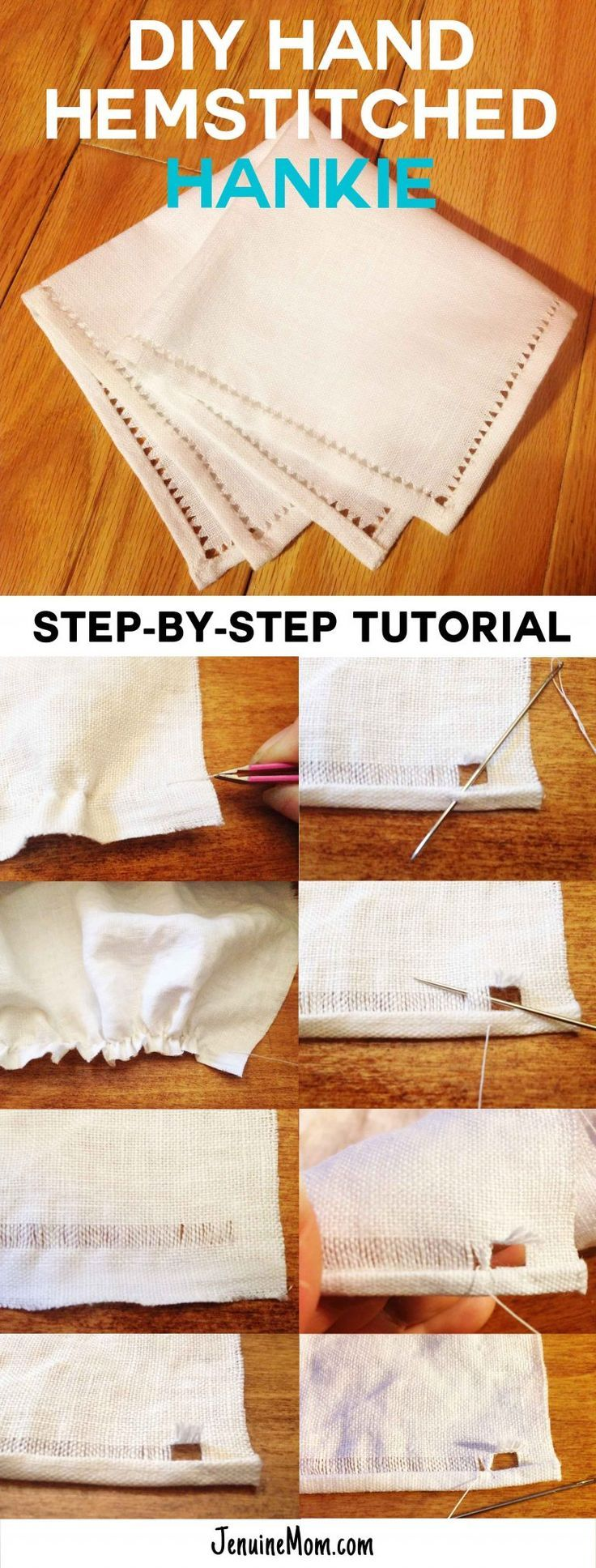 DIY Hand Hemstitched Handkerchief | Drawn Thread Work | JenuineMom.com