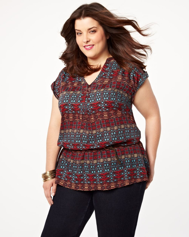 printed tunic blouse. Addition Elle #additionelle #trends #plussize #aztek