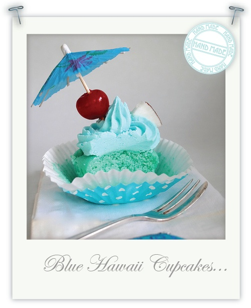 Gluten free Blue Hawaii cupcakes!! Love this! Looks just like one of the cupcakes from my fav games on my android!