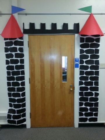 Classroom door castle decoration