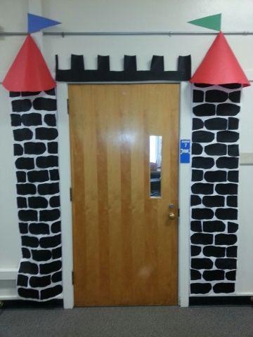 Classroom door castle decoration