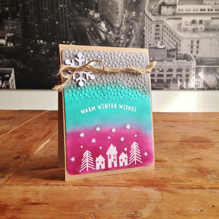 "Warm Wishes Card. Cardstock: SU, Kraft; stamps: Neat & Tangled (""Winter Wishes""); dies: Lawn Fawn (""Stitched Snowflakes""); ink & embossing powder: SU; embossing folder: ?; twine from my stash."