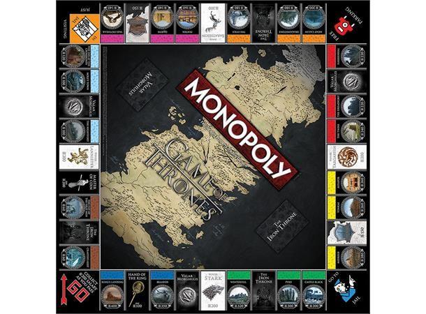 Game of Thrones Monopol Brettspill er den offisielle Monopol-utgaven av den populære TV-serien! Ta over kontrollen i Westeros i denne svært forseggjorte spesialutgaven, med berømte steder inkludert Castle Black, Winterfell og King's Landing. Kjøp, selg og bytt deg til toppen av Jerntronen!Collector's Edition inkluderer:- 6 store brikker (som også kan brukes som samlefigurer): Dragon Egg, Three-Eyed Raven, White Walker, Direwolf, Crown og The Iron Throne.- Spesialdesignet spillbrett me...