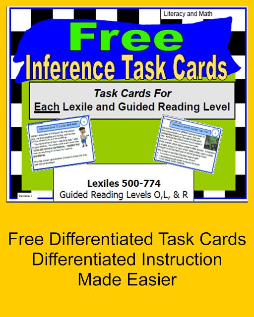 Free inference task cards.  These task cards are organized by Lexile/Guided reading levels to make differentiating instruction, RTI (Response to Intervention) and test prep easier.  Try this time saver for free.