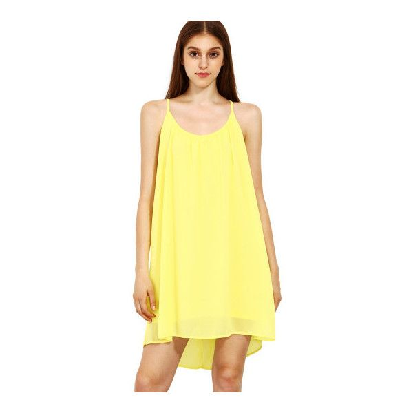 SheIn(sheinside) Spaghetti Strap Hollow Shift Neon Yellow Braces Sun... (62 HRK) ❤ liked on Polyvore featuring dresses, yellow, summer dresses, neon yellow dress, short summer dresses, short-sleeve shift dresses and yellow dress