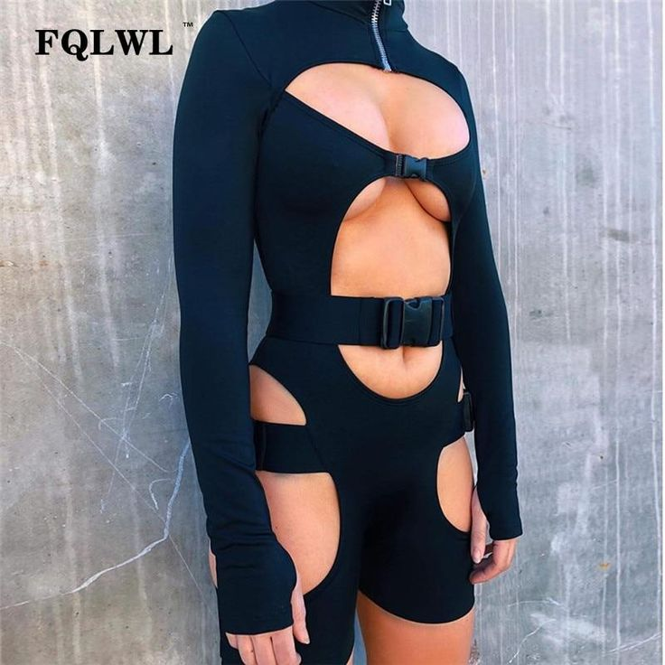 FQLWL Hollow Out Fitness Sexy Rompers Womens Jumpsuit Short Long Sleeve Bodycon Black Female Jumpsuit For Women 2018 Playsuit 1