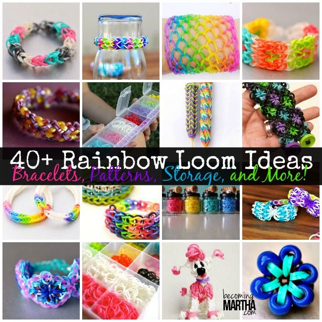 Do you have a little one who is OBSESSED with Rainbow Loom?  Check out these 40+ Rainbow Loom Tutorials and Ideas - Becoming Martha