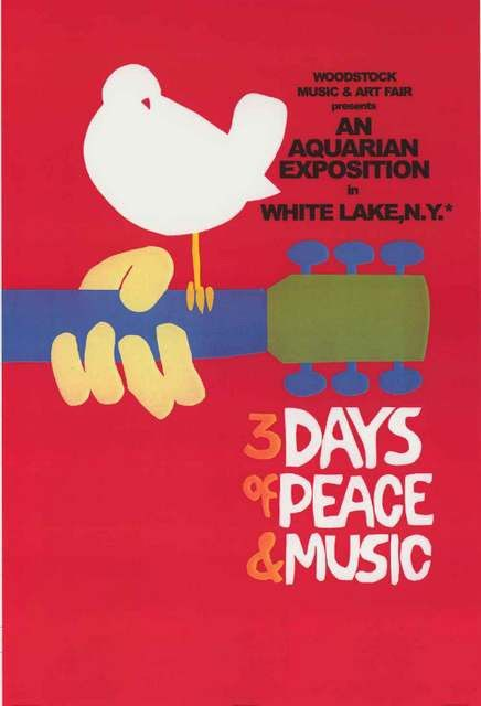 Peace, Love, and Music - Go back to the summer of 1969 with this great Woodstock poster! Ships fast. 24x36 inches. Our amazing selection of Woodstock posters is totally Far Out! Need Poster Mounts..?
