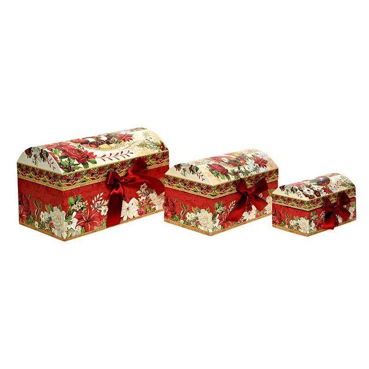S/3 PAPER BOX W/SANTA 25X17X17