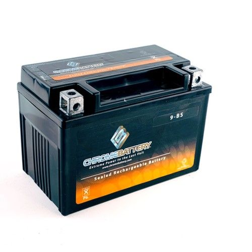 YTX9-BS Motorcycle Battery for Kawasaki 600cc ZX600-K M N Ninja ZX-6RR 2005, chrome