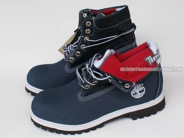 Timberland Womens Basic Roll-Top Boot With Navy-Blue and Red $ 80.00