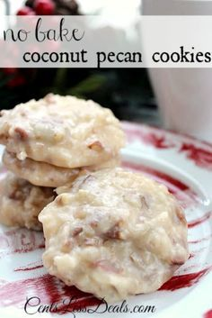 No Bake Coconut Pecan Cookies recipe. These are delicious and a perfect no bake cookie for those who can't have or don't like chocolate! These are perfect during the holidays!
