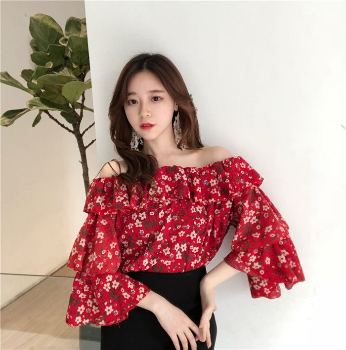 6aa4dfd92cb New Korean Short Style Sweet Blouse Red Floral Print Cascading ...