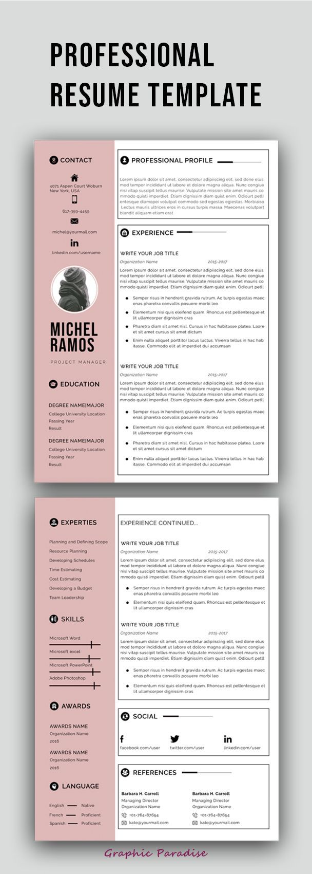 Laura is mobile friendly, clean code, modern layout and ready for easy customization. Pin By Valentina Bautista On Curriculum Vitae Portfolio In 2021 Free Resume Template Word Resume Template Professional Modern Resume Template Free
