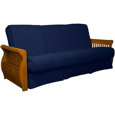 Concord Suede Sit N Sleep Futon and Mattress Frame Finish: Medium Oak, Size: Full, Upholstery: Dark Blue - http://delanico.com/futons/concord-suede-sit-n-sleep-futon-and-mattress-frame-finish-medium-oak-size-full-upholstery-dark-blue-656536949/