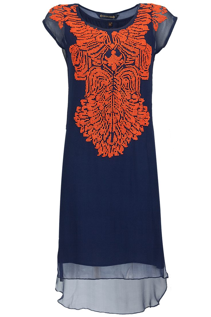 Navy high-low embroidered tunic available only at Pernia's Pop-Up Shop.