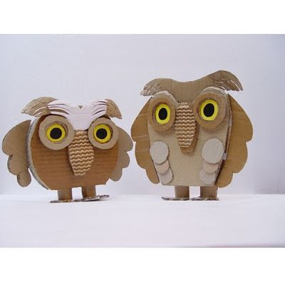 Cardboard OwlsAnimal Cardboard, Kickcan Conker, Cardboard Animal Sculpture, Cardboard Art, Animal Crafts, Owls Crafts, Cardboard Owls, Cardboard Crafts, Cardboard Animal Masks