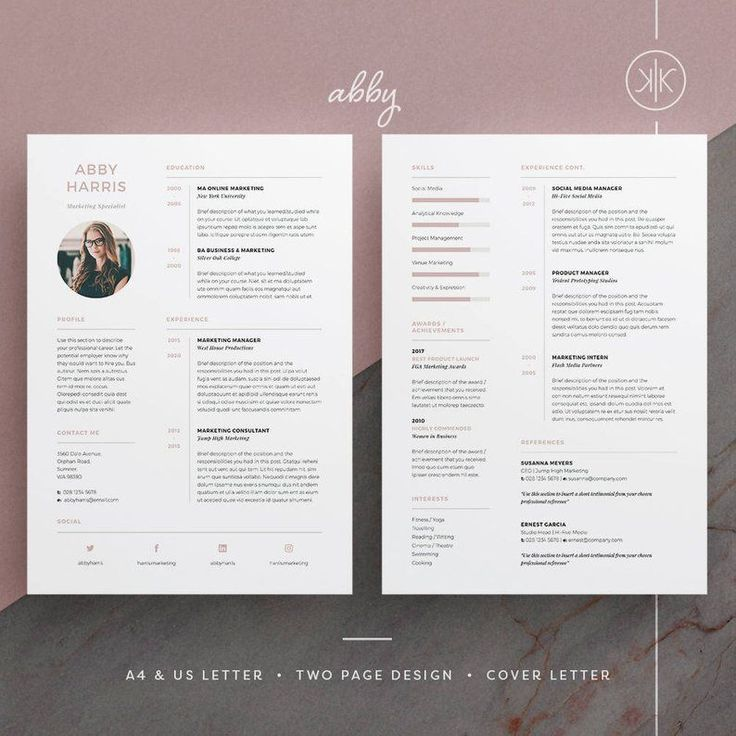 Abby Resume/CV Template Word InDesign Etsy
