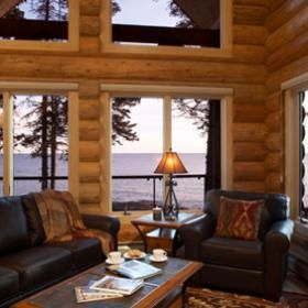 Luxury log homes temperance landing bluefin bay family for North shore lake superior cabins