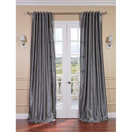 Half Price Drapes Storm Grey Vintage Textured Faux Dupioni Silk Single Panel Curtain, 50 X 108 Pdch Kbs7 108
