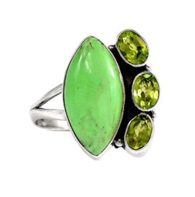 Apple-Green Australian Gaspeite and Olive-Green Peridot Genuine Gemstones 925 Sterling Silver Statement Unique Design Ring Jewellery S9!! by Ameogem on Etsy