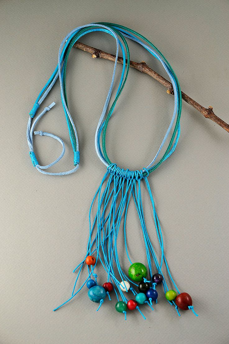 Multistrand long turquoise necklace with multicolor acai beads, long cord necklace with tagua nut (vegetable ivory nut), bohemian necklace by ColorLatinoJewelry on Etsy