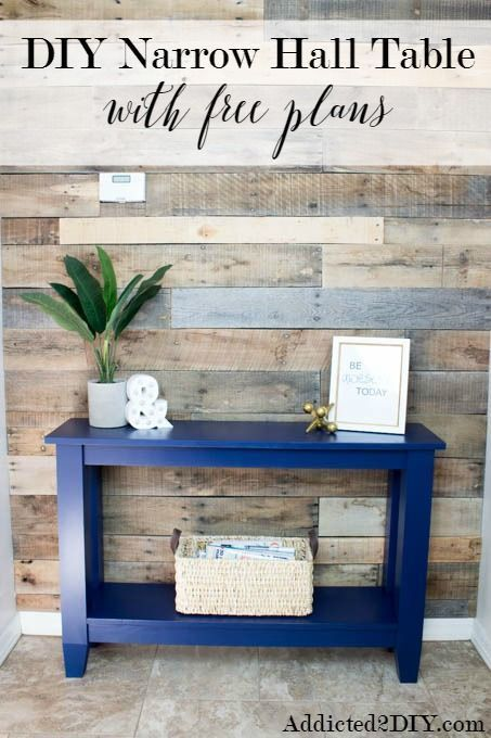Diy Furniture : This is a perfect weekend project! This DIY Narrow Hallway Table fits in any spa #Hallways