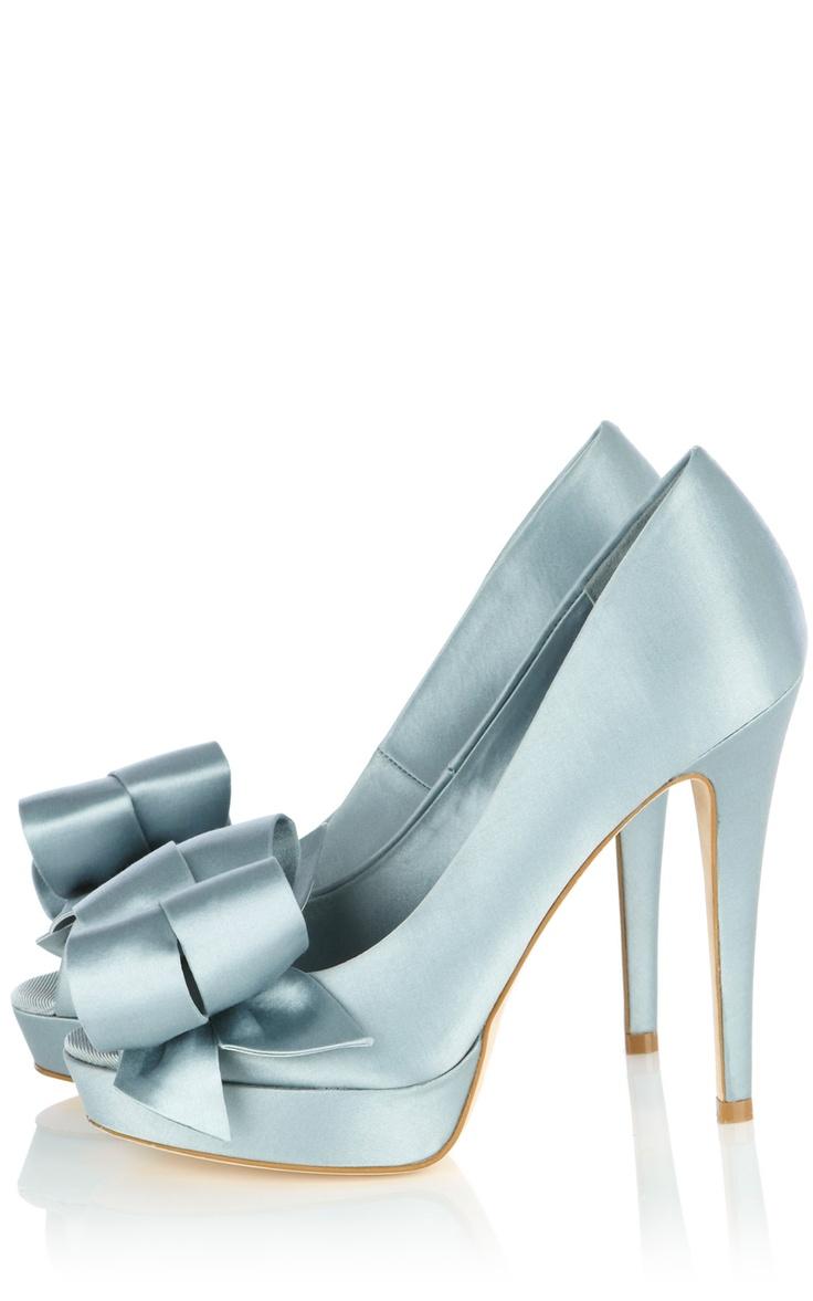 Satin peep with bow: Karen O'Neil, Wedding Shoes, Blue Satin, Satin Bows, Karen Miller, Blue Shoes, Something Blue, Karen Millen, Satin Peeps