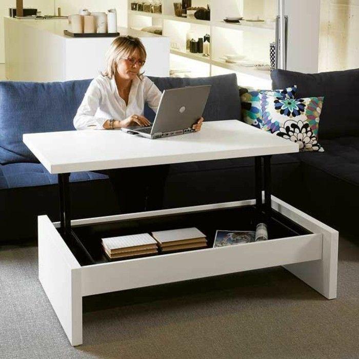 table basse alinea et la table basse wengé de couleur blanche