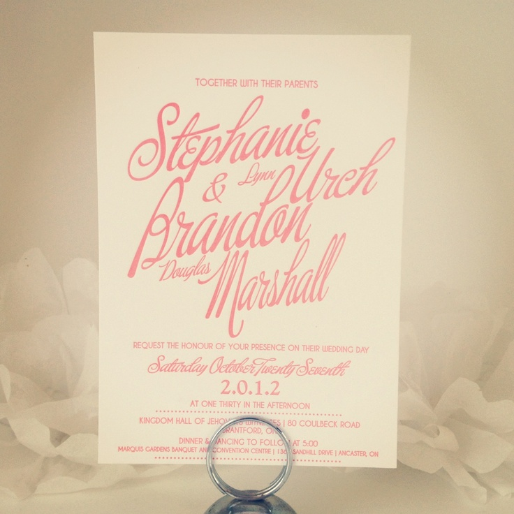 Coral letterpress wedding invitations Invitations u0026