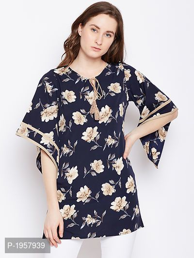 e82222b76680 Navy Blue Floral Printed Crepe Top | easy online shopping | Tops ...