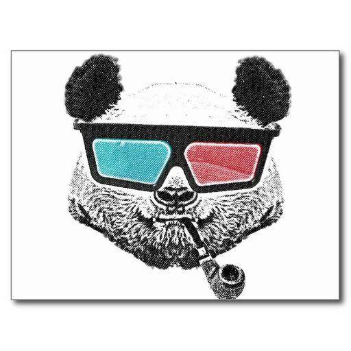 Vintage panda 3-D glasses Post Card