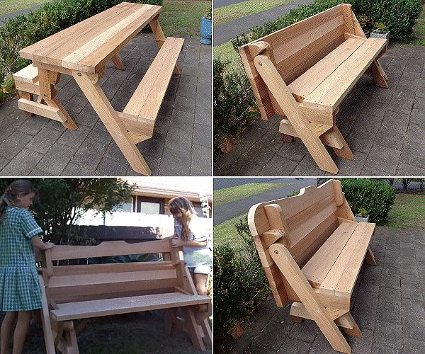 2 in 1 seat and picnic table made by Donald