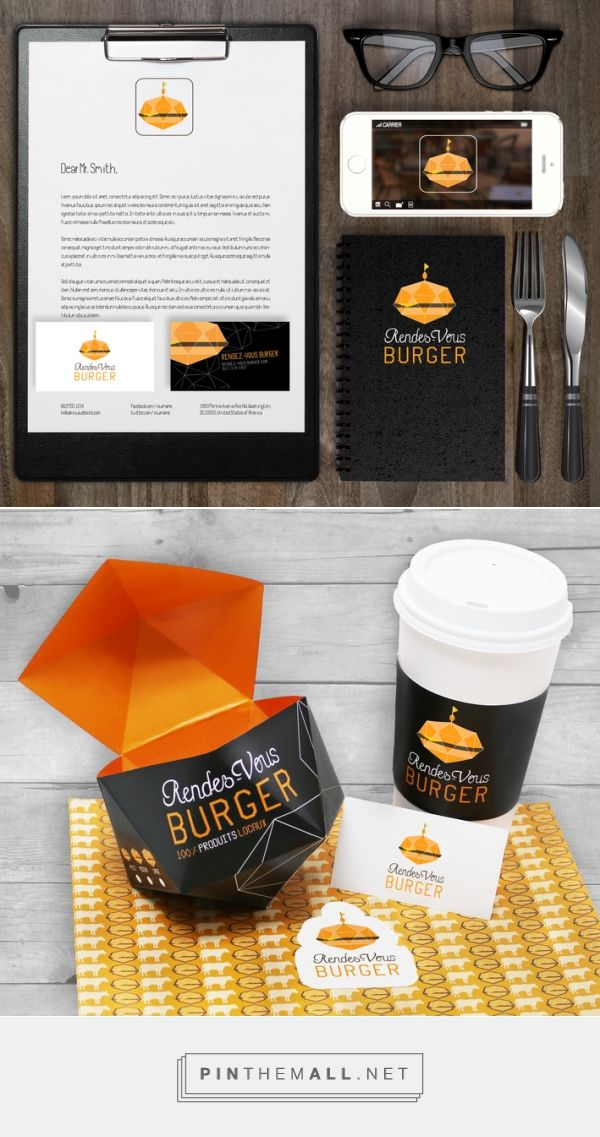 RENDEZ-VOUS BURGER BRANDING | Anik Bonnema Packaging design for the fast food restaurant Rendez-Vous Burger . It was inspired by the geometrical shape of the logo. The choice of dark colors as well as the simplicity of this design create elegance.