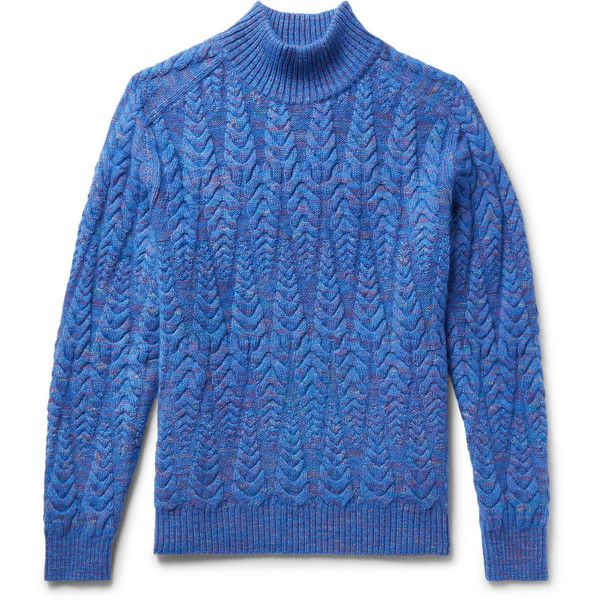 Missoni Cable-Knit Space-Dyed Wool-Blend Sweater ($1,160) ❤ liked on Polyvore featuring men's fashion, men's clothing, men's sweaters, mens cable sweater, missoni mens sweater, mens chunky cable knit sweater and mens cable knit sweater
