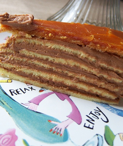 Dobos Torte, a traditional Hungarian cake that reminds me of many Russian cakes I have had over the years. Marina's pin sent me in search of the recipe :)